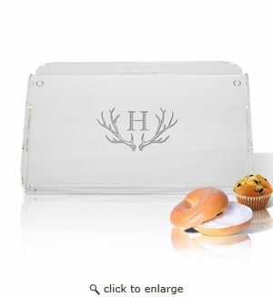 Acrylic Serving Tray with Handles Antler Initial Motif
