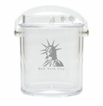 AMERICAN LANDMARK ICE BUCKET WITH TONGS
