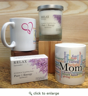 Case Pack Pure Energy  Apothecary Lavender Soap, Candle and Mom Mug Set