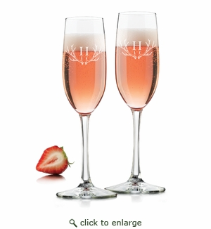 CHAMPAGNE FLUTE SET OF 2 (GLASS) : Antler w/ Initial