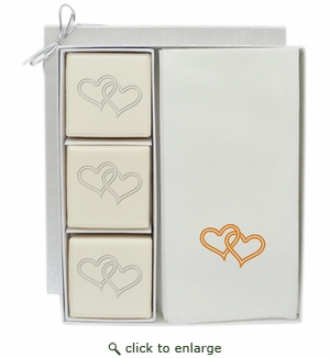 ECO-LUXURY COURTESY GIFT SET : DOUBLE HEART WITH GOLD
