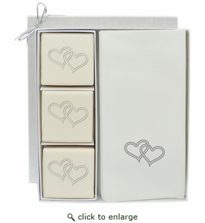 ECO-LUXURY COURTESY GIFT SET : DOUBLE HEART WITH SILVER