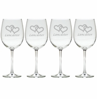 DOUBLE HEART WITH NAME WINE STEM : SET OF 4 (GLASS)