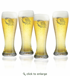 Eagle and Flag Set of 4  Pilsner Glasses 16oz