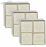 ECO-LUXURY : 3 SETS of 4 SQUARE HANUKKAH MIX GUEST BARS