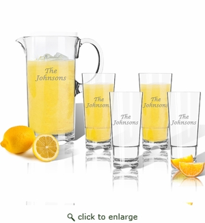 Entertaining Set: Tritan Pitcher and High Ball Glasses 16 oz (Set of 4) : Name or Phrase