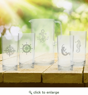 Entertaining Set: Unbreakable pitcher and four highball glasses : Nautical