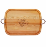 "EVERYDAY COLLECTION: 21"" x 15"" LARGE SERVING TRAY WITH NOUVEAU HANDLES: HAPPY NEW YEAR"