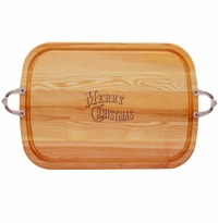 EVERYDAY COLLECTION: LARGE SERVING TRAY WITH NOUVEAU HANDLES MERRY CHRISTMAS