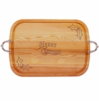 EVERYDAY COLLECTION: LARGE SERVING TRAY WITH NOUVEAU HANDLES MERRY CHRISTMAS with HOLLY
