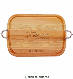 EVERYDAY COLLECTION: LARGE SERVING TRAY WITH NOUVEAU HANDLES PERSONALIZED MOST WONDERFUL TIME