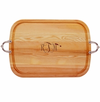 EVERYDAY COLLECTION: LARGE SERVING TRAY WITH NOUVEAU HANDLES SANTA HAT MONOGRAM