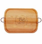 """EVERYDAY COLLECTION: 21"""" x 15"""" LARGE TRAY NUEVO HANDLES PERSONALIZED MR & MRS"""