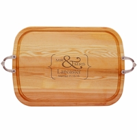 "EVERYDAY COLLECTION: 21"" x 15"" LARGE TRAY NUEVO HANDLES PERSONALIZED MR & MRS"