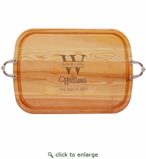 "EVERYDAY COLLECTION: 21"" x 15"" LARGE TRAY NUEVO HANDLES PERSONALIZED NAME WITH BIG LETTER"