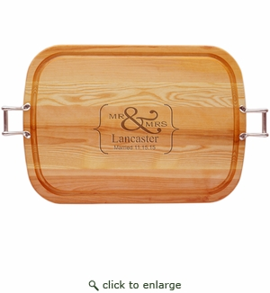 "EVERYDAY COLLECTION: 21"" x 15"" LARGE TRAY URBAN HANDLES PERSONALIZED MR & MRS"