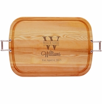 "EVERYDAY COLLECTION: 21"" x 15"" LARGE TRAY URBAN HANDLES PERSONALIZED NAME WITH BIG LETTER"