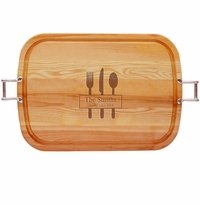 "EVERYDAY COLLECTION: 21"" x 15"" LARGE TRAY URBAN HANDLES PERSONALIZED SERVING SINCE"