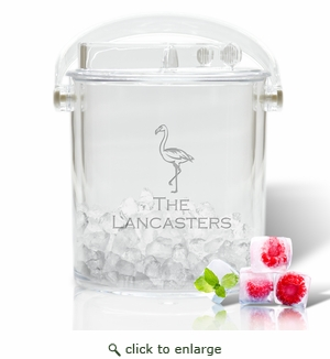 Flamingo Personalized Insulated Ice Bucket & Tongs