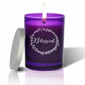 Gem Collection: Amethyst : Soy Wax Hand Poured Glass Vessel Candle Blessed Design