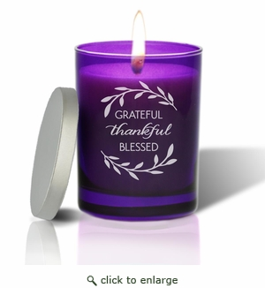Gem Collection: Amethyst : Soy Wax Hand Poured Glass Vessel Candle Grateful Thankful Blessed Design