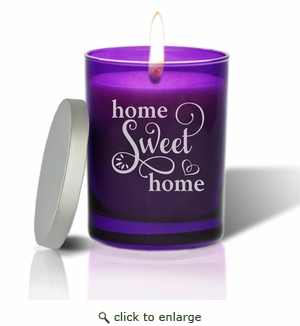 Gem Collection: Amethyst : Soy Wax Hand Poured Glass Vessel Candle Home Sweet Home Script Design