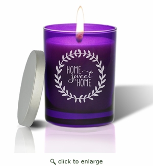 Gem Collection: Amethyst : Soy Wax Hand Poured Glass Vessel Candle Home Sweet Home Wreath Design