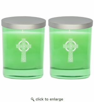 GEM COLLECTION CANDLE SET of 2: Emerald with Celtic Cross