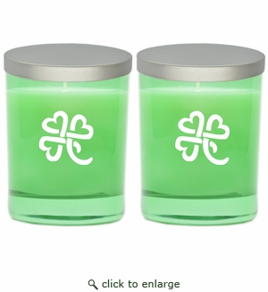 GEM COLLECTION CANDLE SET of 2: Emerald with Heart Clover