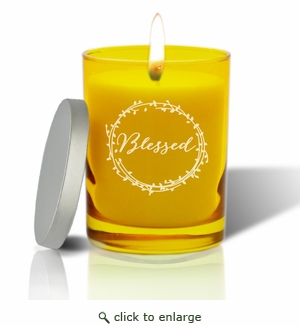 Gem Collection: Citrine : Soy Wax Hand Poured Glass Vessel Candle Blessed Design