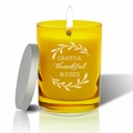 Gem Collection: Citrine : Soy Wax Hand Poured Glass Vessel Candle Grateful Thankful Blessed Design