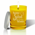Gem Collection: Citrine : Soy Wax Hand Poured Glass Vessel Candle Home Sweet Home Script Design
