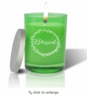 Gem Collection: Emerald : Soy Wax Hand Poured Glass Vessel Candle Blessed Design