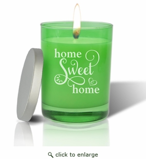 Gem Collection: Emerald : Soy Wax Hand Poured Glass Vessel Candle Home Sweet Home Script Design