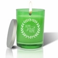 Gem Collection: Emerald : Soy Wax Hand Poured Glass Vessel Candle Home Sweet Home Wreath Design