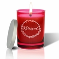 Gem Collection: Ruby : Soy Wax Hand Poured Glass Vessel Candle Blessed Design