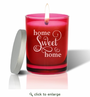 Gem Collection: Ruby : Soy Wax Hand Poured Glass Vessel Candle Home Sweet Home Script Design