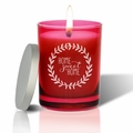 Gem Collection: Ruby : Soy Wax Hand Poured Glass Vessel Candle Home Sweet Home Wreath Design