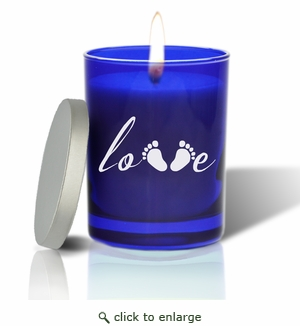 Gem Collection Sapphire Glass Candle:Love Footprint