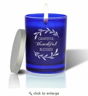Gem Collection: Sapphire : Soy Wax Hand Poured Glass Vessel Candle Grateful Thankful Blessed Design