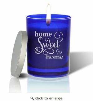 Gem Collection: Sapphire : Soy Wax Hand Poured Glass Vessel Candle Home Sweet Home Script Design