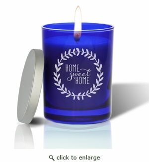 Gem Collection: Sapphire : Soy Wax Hand Poured Glass Vessel Candle Home Sweet Home Wreath Design
