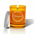 Gem Collection: Topaz : Soy Wax Hand Poured Glass Vessel Candle Blessed Design