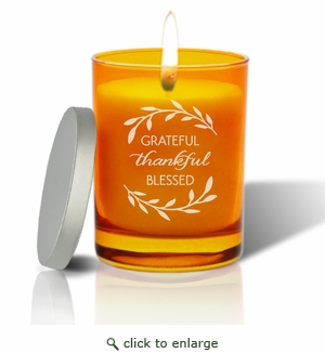 Gem Collection: Topaz : Soy Wax Hand Poured Glass Vessel Candle Grateful Thankful Blessed Design