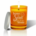 Gem Collection: Topaz : Soy Wax Hand Poured Glass Vessel Candle Home Sweet Home Script Design