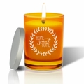 Gem Collection: Topaz : Soy Wax Hand Poured Glass Vessel Candle Home Sweet Home Wreath Design