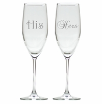 HIS & HERS CHAMPAGNE FLUTE SET OF 2 BRACKET (GLASS)