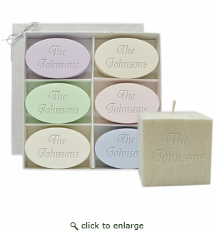 "HOLIDAY GIFT SET: SIGNITURE SPA INSPIRE SOAPS, PURE AROMATHERAPY 4"" PALM WAX CANDLE"