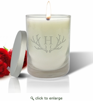 Just Flame Candle - Antler with Single Initial