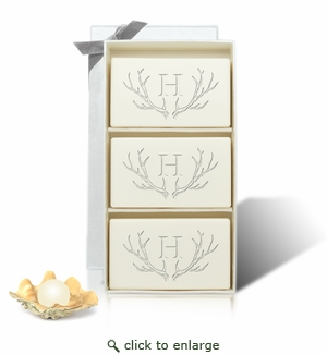 Limited Edition Rectangle Lavender Trio - Antler with Single Initial